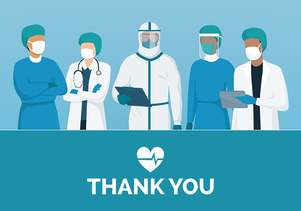 An illustration of a panel of doctors and nurses standing above the words thank you.