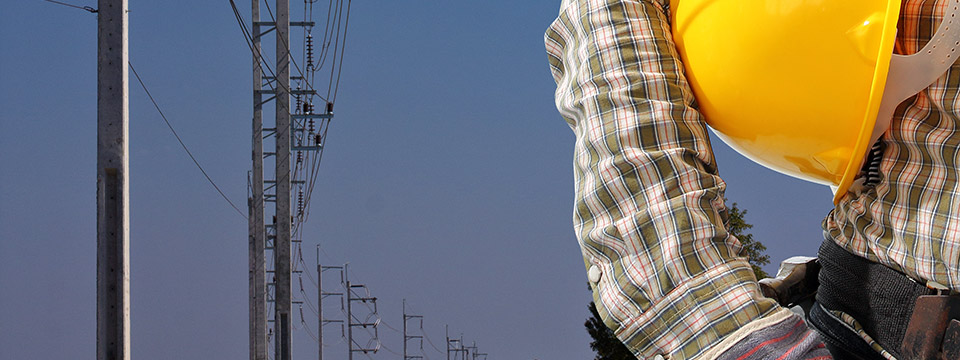 Man in a utility worker outfit stands against a row of electricity poles.