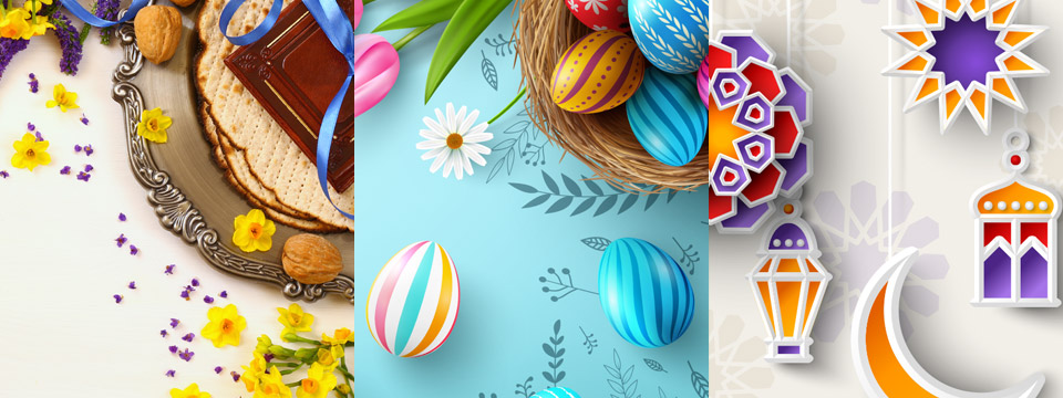 A triple panel illustration showcases beautiful themes from Passover, Easter and Ramadan.