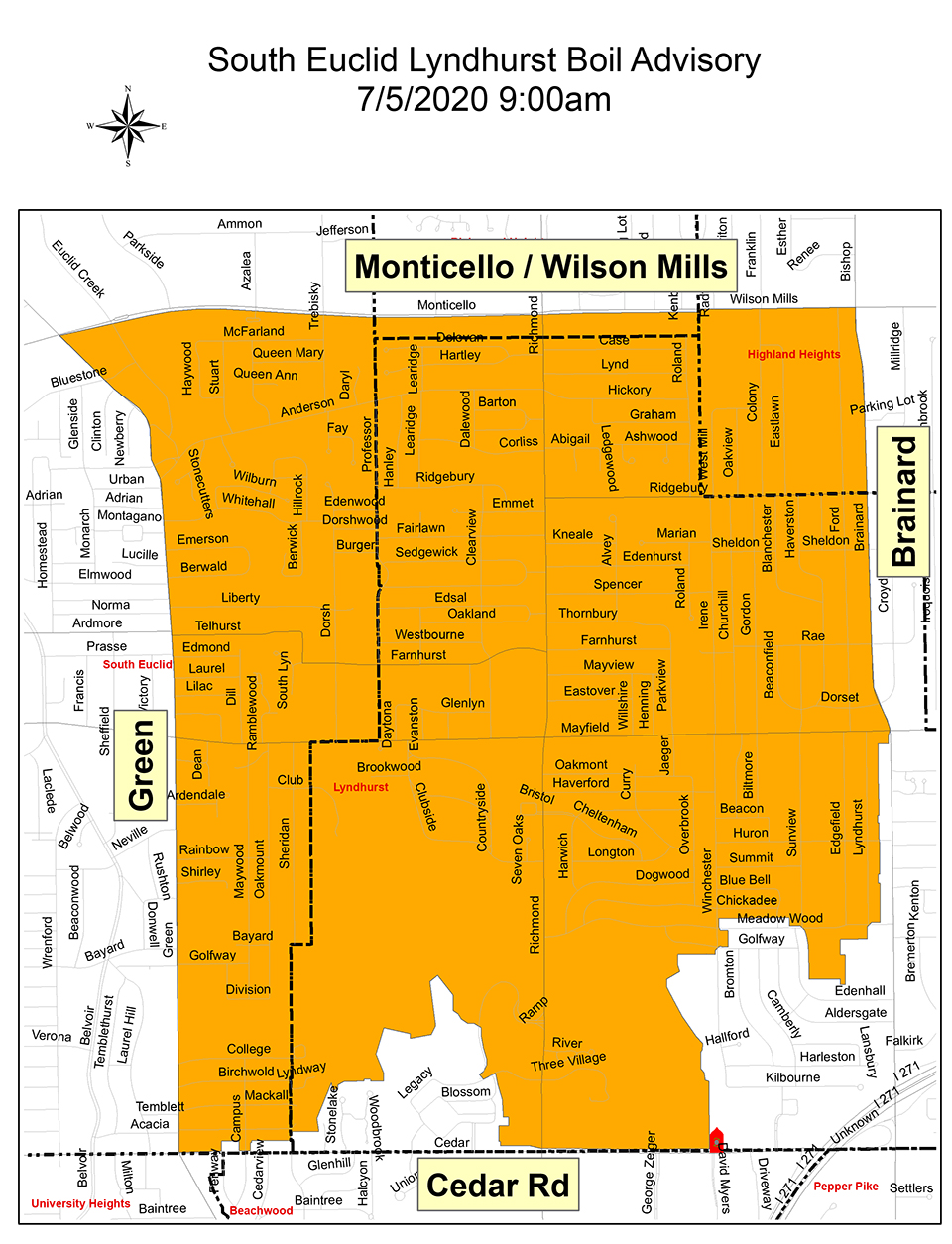 South Euclid Lyndhurst Boil Advisory Map for July 5th 2020 at 9:00 AM