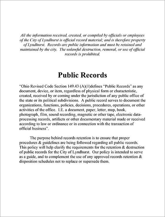 Public Records Policy - City of Lyndhurst, Ohio. Launch as PDF.