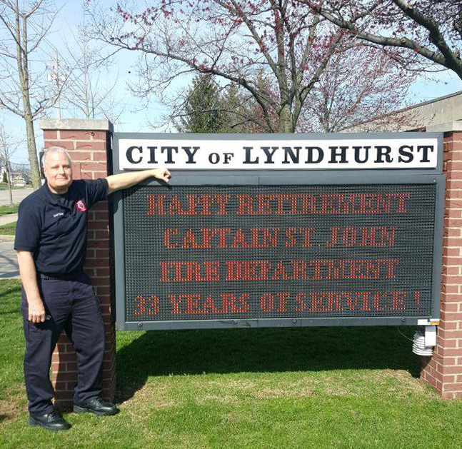 Media Release - Congratulations and Happy Retirement Captain St. John - City of Lyndhurst, Ohio Fire Department - 33 Years of Service - April 27th 2018 - City of Lyndhurst, Ohio