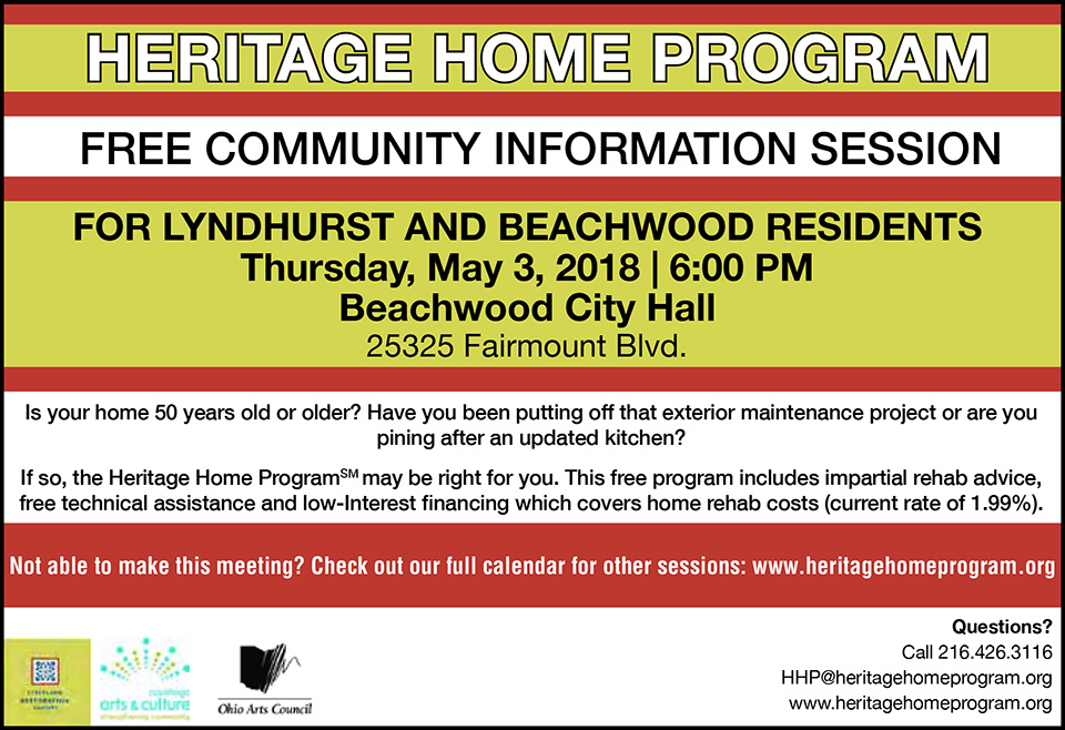 Heritage Home Program - Free Community Information Session - For Lyndhurst and Beachwood Residents - May 3rd 2018 - City of Lyndhurst, Ohio