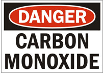 Photo of a sign which reads Danger Carbon Monoxide.